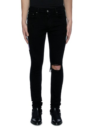 Main View - Click To Enlarge - AMIRI - Tie dye outseam ripped knee dark wash jeans