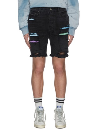Main View - Click To Enlarge - AMIRI - Thrasher' dark wash colour patch distressed denim shorts
