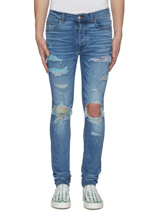 Main View - Click To Enlarge - AMIRI - Hawaiian patch distressed skinny jeans