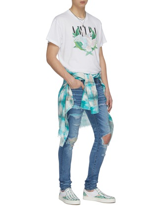 Figure View - Click To Enlarge - AMIRI - Hawaiian patch distressed skinny jeans