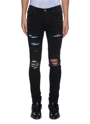 Main View - Click To Enlarge - AMIRI - Hawaiian print patch distressed skinny jeans