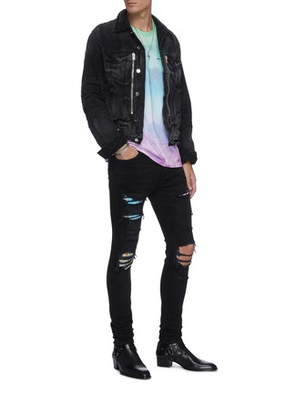 Figure View - Click To Enlarge - AMIRI - Hawaiian print patch distressed skinny jeans