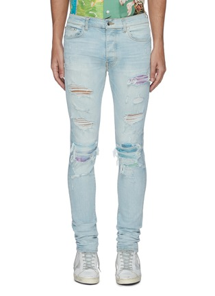 Main View - Click To Enlarge - AMIRI - Distressed watercolour skinny jeans
