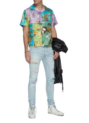 Figure View - Click To Enlarge - AMIRI - Distressed watercolour skinny jeans