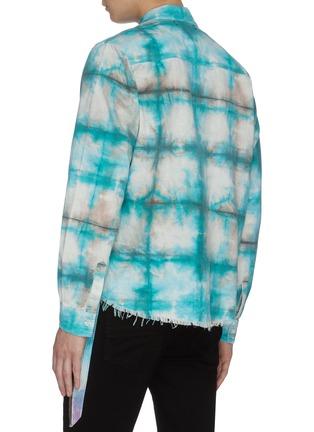 Back View - Click To Enlarge - AMIRI - Tie dye distressed hem plaid shirt