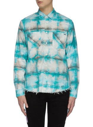 Main View - Click To Enlarge - AMIRI - Tie dye distressed hem plaid shirt