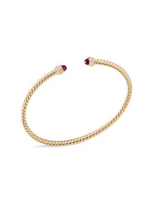 Main View - Click To Enlarge - DAVID YURMAN - 'Cable Spira' diamond garnet 18k gold bracelet