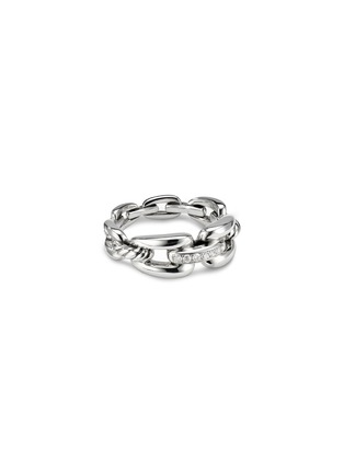 Main View - Click To Enlarge - DAVID YURMAN - Wellesley' diamond sterling silver chain link ring