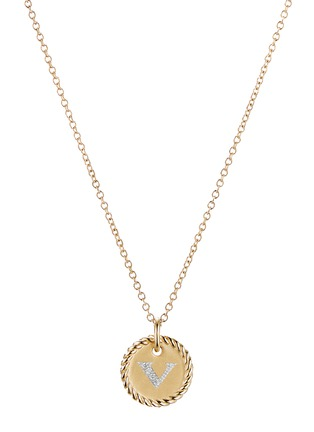 Main View - Click To Enlarge - DAVID YURMAN - Initial V' cable collectible diamond 18k gold necklace