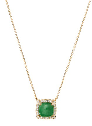 Main View - Click To Enlarge - DAVID YURMAN - Chatelaine' diamond jadeite 18k gold bezel pendant necklace