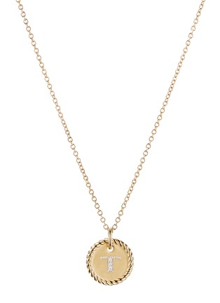 Main View - Click To Enlarge - DAVID YURMAN - Initial T' cable collectible diamond 18k gold necklace
