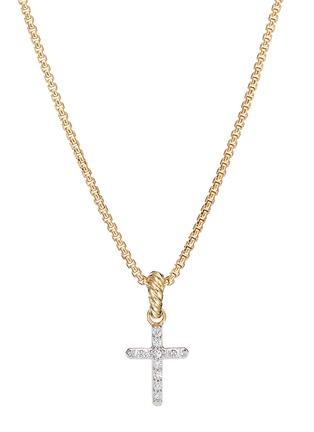 Main View - Click To Enlarge - DAVID YURMAN - 'Cable Collectible' Diamond 18k gold cross enhancer