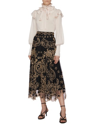 Figure View - Click To Enlarge - ZIMMERMANN - 'Ladybeetle Fortune' graphic embroidered tulle midi skirt