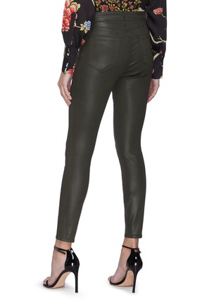 Back View - Click To Enlarge - L'AGENCE - 'Margot' High Rise Crop Coated Denim Skinny Jeans