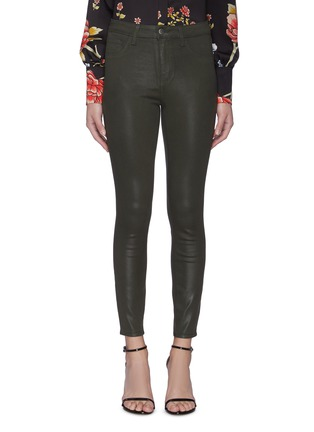 Main View - Click To Enlarge - L'AGENCE - 'Margot' High Rise Crop Coated Denim Skinny Jeans