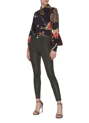 Figure View - Click To Enlarge - L'AGENCE - 'Margot' High Rise Crop Coated Denim Skinny Jeans