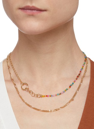 Figure View - Click To Enlarge - GAVIRIA - Friendship crystal 18k gold plated necklace