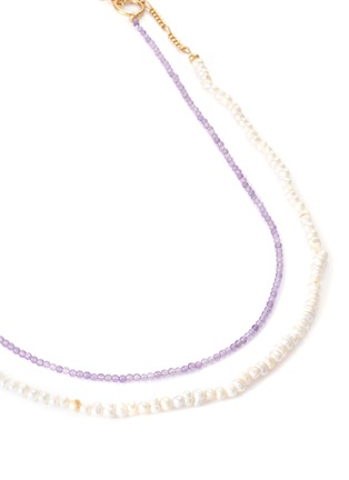 Detail View - Click To Enlarge - GAVIRIA - Island Disco agate river pearl 18k gold plated silver necklace