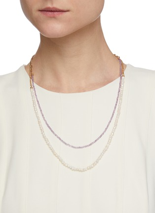 Figure View - Click To Enlarge - GAVIRIA - Island Disco agate river pearl 18k gold plated silver necklace