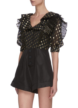 Front View - Click To Enlarge - SELF-PORTRAIT - Dotted fil-coupé belted playsuit
