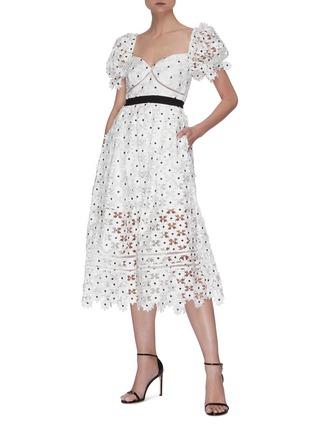Figure View - Click To Enlarge - SELF-PORTRAIT - Daisy lace midi dress