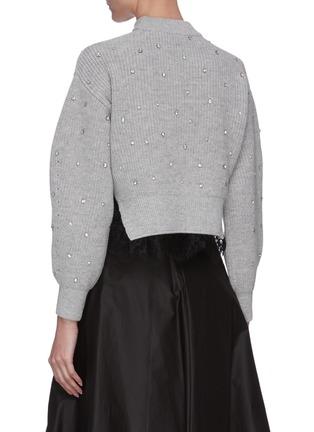 Back View - Click To Enlarge - SELF-PORTRAIT - Crystal embellished shoulder cutout crop knit top