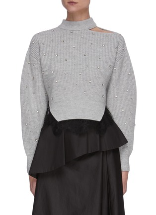 Main View - Click To Enlarge - SELF-PORTRAIT - Crystal embellished shoulder cutout crop knit top