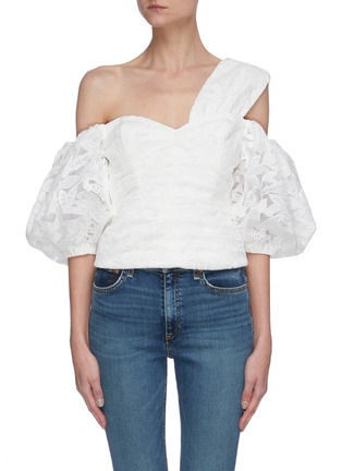 Main View - Click To Enlarge - SELF-PORTRAIT - Off shoulder leaf guipure lace top