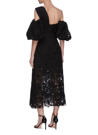 Back View - Click To Enlarge - SELF-PORTRAIT - Leaf guipure lace asymmetric neck puffed sleeve midi dress