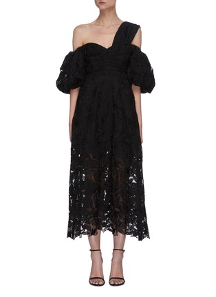 Main View - Click To Enlarge - SELF-PORTRAIT - Leaf guipure lace asymmetric neck puffed sleeve midi dress