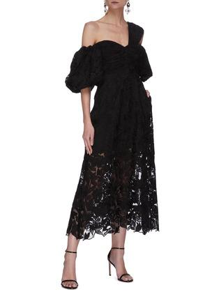 Figure View - Click To Enlarge - SELF-PORTRAIT - Leaf guipure lace asymmetric neck puffed sleeve midi dress