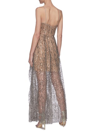 Back View - Click To Enlarge - SELF-PORTRAIT - Leaf sequin embellished ruffle maxi dress