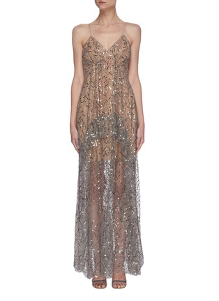 Main View - Click To Enlarge - SELF-PORTRAIT - Leaf sequin embellished ruffle maxi dress