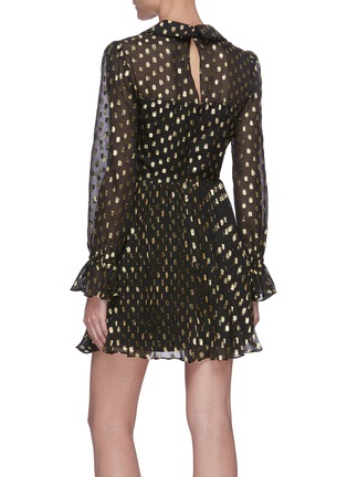 Back View - Click To Enlarge - SELF-PORTRAIT - Dotted fil-coupé ruched waist mini dress