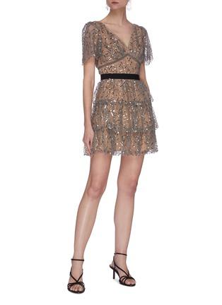 Figure View - Click To Enlarge - SELF-PORTRAIT - Leaf sequin embellished mini dress