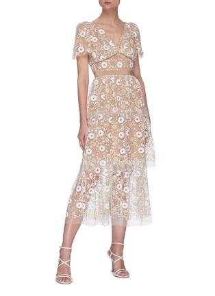 Figure View - Click To Enlarge - SELF-PORTRAIT - Floral sequin cape sleeve midi dress