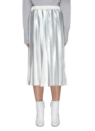 Main View - Click To Enlarge - THE KEIJI - Foil stripe pleated skirt