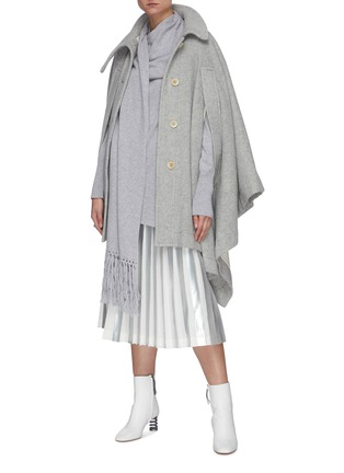 Figure View - Click To Enlarge - THE KEIJI - Foil stripe pleated skirt