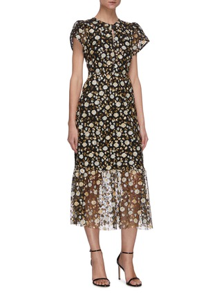Detail View - Click To Enlarge - SELF-PORTRAIT - Sequin embellished short sleeve mesh midi dress