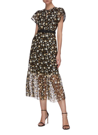 Figure View - Click To Enlarge - SELF-PORTRAIT - Sequin embellished short sleeve mesh midi dress