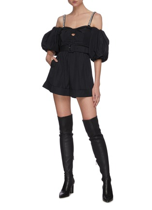 Figure View - Click To Enlarge - SELF-PORTRAIT - Balloon sleeve taffeta bow playsuit