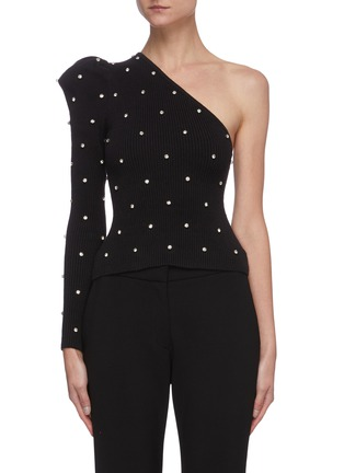 Main View - Click To Enlarge - SELF-PORTRAIT - One shoulder diamante embellished knit top