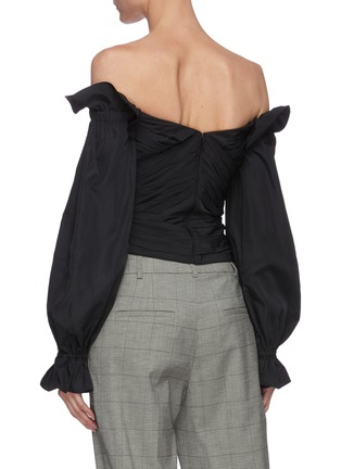 Back View - Click To Enlarge - SELF-PORTRAIT - Off shoulder balloon sleeve taffeta wrap top