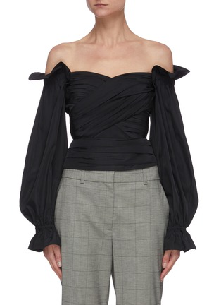 Main View - Click To Enlarge - SELF-PORTRAIT - Off shoulder balloon sleeve taffeta wrap top
