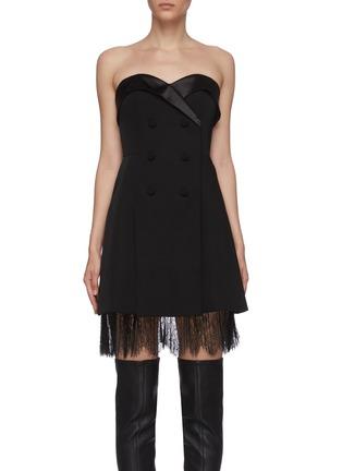 Main View - Click To Enlarge - SELF-PORTRAIT - Off shoulder tailored crepe lace trim mini dress