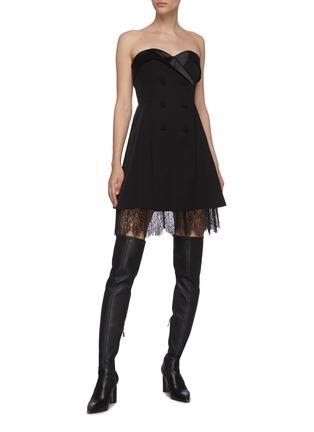 Figure View - Click To Enlarge - SELF-PORTRAIT - Off shoulder tailored crepe lace trim mini dress