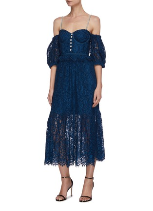 Detail View - Click To Enlarge - SELF-PORTRAIT - 'Petrol' Off shoulder lace dress