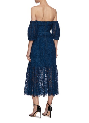 Back View - Click To Enlarge - SELF-PORTRAIT - 'Petrol' Off shoulder lace dress