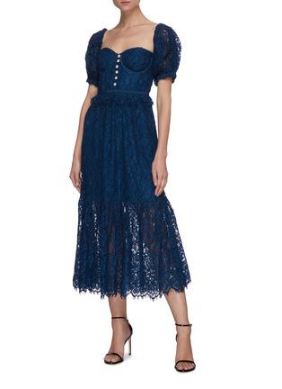 Figure View - Click To Enlarge - SELF-PORTRAIT - 'Petrol' Off shoulder lace dress
