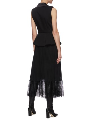 Back View - Click To Enlarge - SELF-PORTRAIT - Tailored crepe and chiffon midi dress